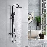 Kaibor lusso colonna doccia nero con miscelatore termostatico, soffioni Doccia quadrata 20 x 20 cm e doccetta con 3 tipi di getto, protezione antiscottatura.