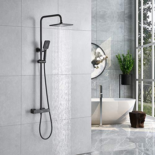 Kaibor Luxus columna de ducha negra con termostato, ducha de lluvia cuadrada de 20 x 20 cm y ducha de mano con 3 tipos de spray, Protección contra escaldaduras.