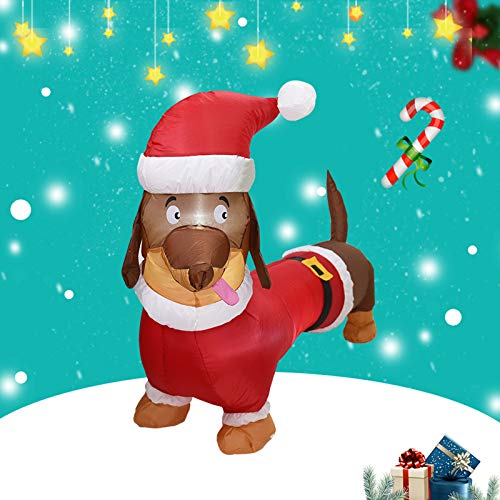 1.1M Christmas Inflatables Dachshund Dog Yard Decorations, Indoor Outdoor Inflatable Christmas Blow up Decor with Built-in LEDs for Yard Lawn Patio Garden Display Xmas Party (multicolor)