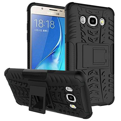Funda híbrida de doble capa desmontable [Kickstand] 2 en 1 resistente a los golpes, resistente a prueba de golpes, compatible con Samsung Galaxy J7 2016 J710 (color negro)