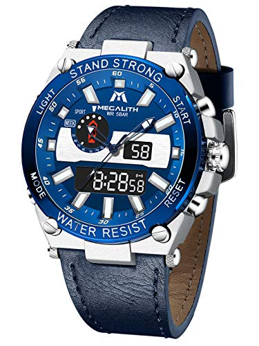 Relojes Hombre MEGALITH Digitales Deportes Reloj Pulsera Impermeable LED Cronómetro Azul Military Relojes para Hombres Analógico Digital Cara Grande Calendario Alarma Diseño