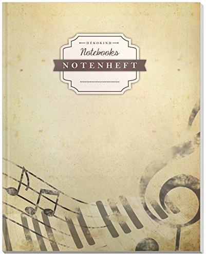 DÉKOKIND Notenheft | DIN A4, 64 Seiten, 12 Notensysteme pro Seite, Inhaltsverzeichnis, Vintage Softcover | Dickes Notenbuch | Motiv: Pergament
