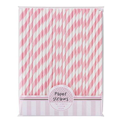 WINOMO Pailles à boire de 30pcs rayé papier Straws(Pink+White)