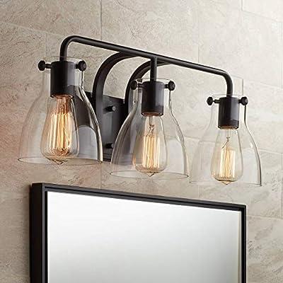 "Cyn Industrial Wall Light Bronze Hardwired 23 3/4"" Wide 3-Light Fixture Clear Glass for Bathroom Vanity Mirror - Possini Euro Design"