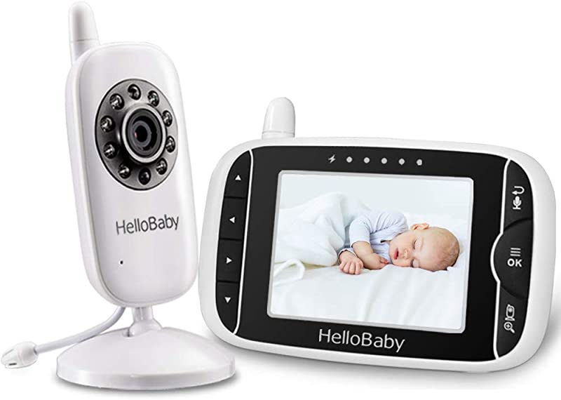HelloBaby Video Baby Monitor With 3 2Inch LCD Display Infrared Night Vision Two Way Audio And Room Temperature Monitoring Lullaby And Support Multi Cameras Sound Activated Screen