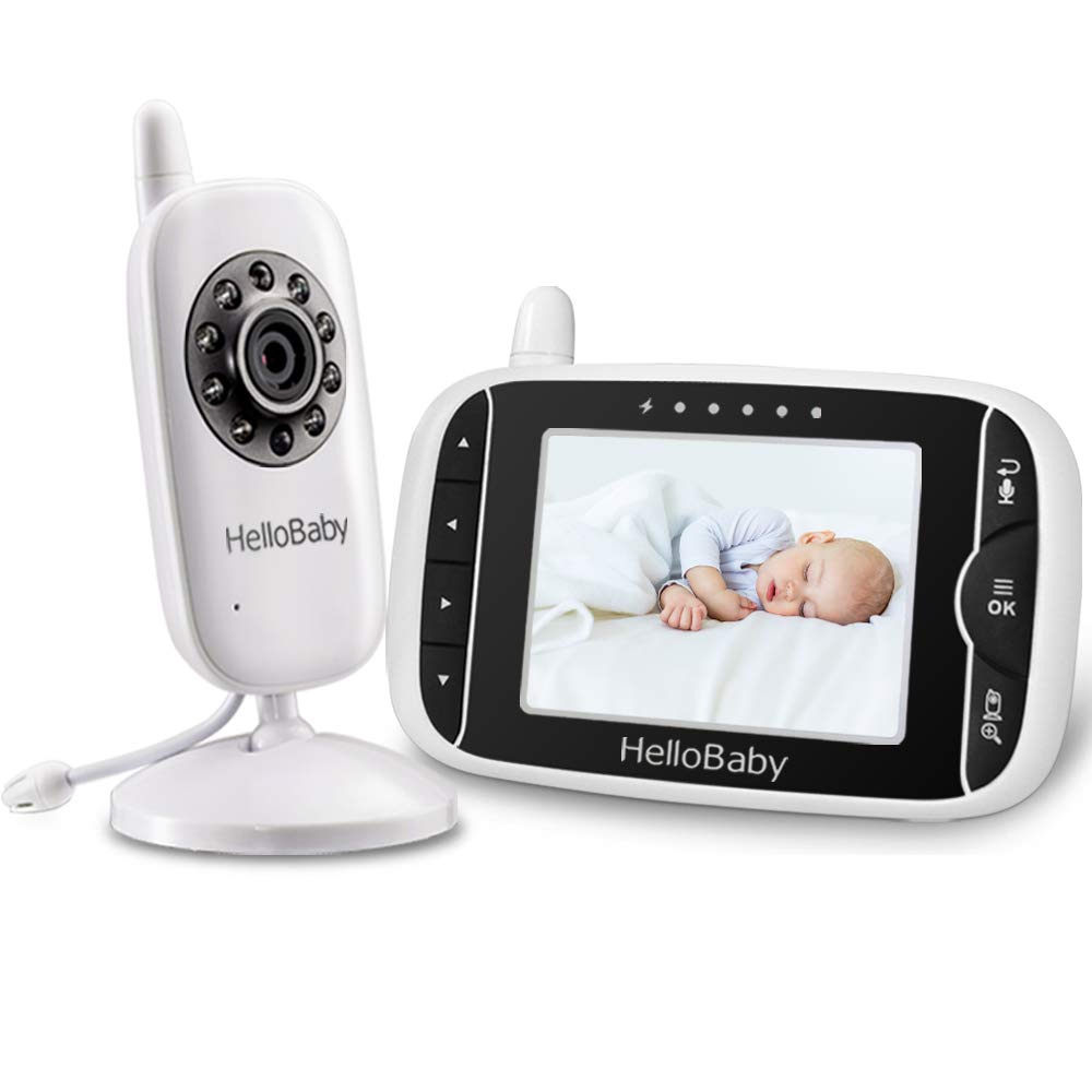 HelloBaby Video Baby Monitor with 3.2Inch LCD Display, Infrared Night Vision, Two-Way Audio and Room Temperature Monitoring,Lullaby and Support Multi Cameras,Sound Activated Screen