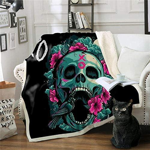 AHJJK couvertures Fleurs de crâne Noir Couverture Chaude en Peluche en Microfibre d'impression 3D - aptées au canapé, Voyage et au Camping des Enfants Adultes 150x200 cm