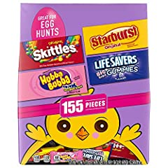 Contains one (1) 46.2-ounce 155 piece bag of SKITTLES, STARBURST, LIFE SAVERS, and HUBBA BUBBA Gum Easter Hunt Candy Mix This 155-piece bulk candy pack is great for spring and Easter celebrations SKITTLES bite-size chewy candies, STARBURST Fruit Chew...