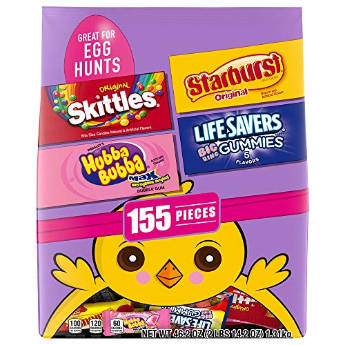Skittles Original, Starburst Original, Lifesavers Gummies, and Hubba Bubba Candy Assorted Easter Egg Hunt Mix, 155 Piece Bag