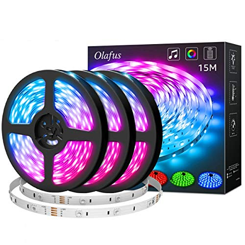 Olafus 15M Led Strip Lights, Music Synch Colour Changing RGB LED Strip Lights Built-in Mic, 44 Keys Remote Control LED Lights Rope Lights, 5050 RGB LED Light Strip(Voice+Remote+Mic+Receiver Button)