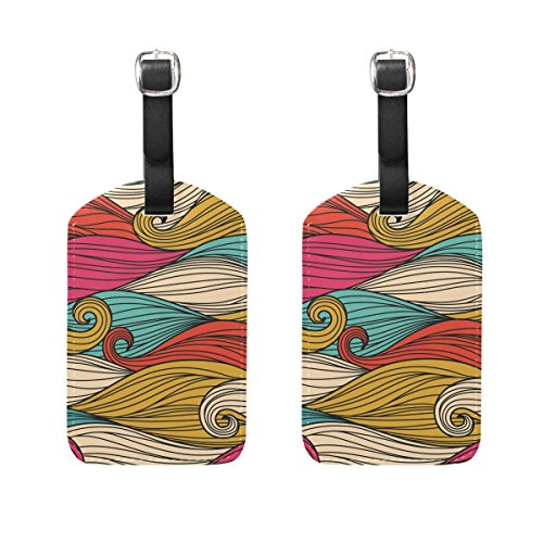 COOSUN Line Waves Luggage Tags Travel Labels Tag Name Card Holder for Baggage Suitcase Bag Backpacks, 2 PCS