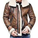 CCOOfhhc Giacca da moto in pelle da uomo, invernale, imbottita, slim fit, giacca funzionale, vintage, a maniche lunghe, con chiusura lampo, giacca in pile, marrone, XL