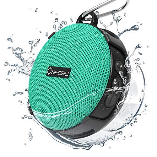 Onforu Altavoz Bluetooth Ducha, Portátil Speaker Inalámbrico con Sonido Estéreo, Bluetooth 5.0 y 10 Horas de Reproducción IP65 Impemeable, Mini Altavoz para Deporte Piscina Playa Baño Hogar