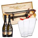 YesEatIs - Eiskübel für 2 Flaschen + Sommelier Sabre und 2 Flaschen - Infinity-Modell (Extra Trockenen Sekt)