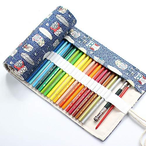 Amaoma Wrap Canvas Pennenhouder, draagbaar, voor op reis, school, kantoor (36 gaten uilenpatroon)