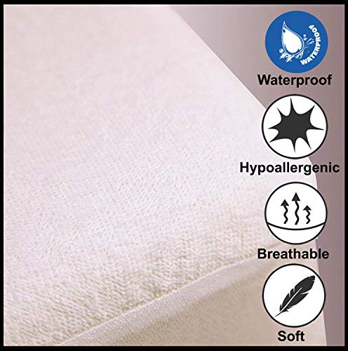 Jennifer Davidson Terry towel Waterproof Mattress Protector Super king Size Bed Breathable Non Nosiy Anti Bacterial Allergy Proof Moisture Proof Topper (SuperKing 6ft)