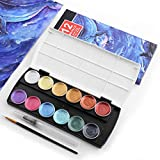 12 colores metálicos brillantes pintura de acuarela sólida + 2 pinceles, pintura perlada portátil, ideal para profesionales y principiantes