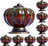 AngYou 8pcs Potillas de cerámica de cerámica de Calabaza, gabinete de cajones de Armario de Armario de Textura ámbar asa de Puerta de guardarropa 38mm * 40mm (Color : Green)