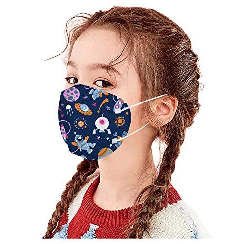 NIMIZIA 10/20/50 Stück Kinder_5 Lagige Schutz_Maske,5 Lagige Mund und Nasenschutz mit Cartoon Weltraum Astronaut Druck,Atmungsaktiv Stoff Bandana für Jungen und Mädchen von 3-10 Jahren