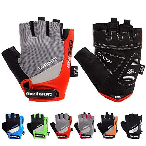 meteor radhandschuhe MTB Handschuhe Herren Gel GX31 Green fahrradhandschuhe Mountainbike Handschuhe - Radsport Handschuhe Damen - Radsporthandschuhe Downhill Fahrrad Handschuhe Kinder (XL, Rot)