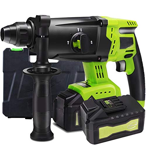 Power Drill, 21V Rotary Hammer Drill 4500BPM with 360° Auxiliary Handle SDS Chuck Carrying Case 6000mAh Multifunction Compact Cordless Driver, for Concrete and Stone,2 Battery