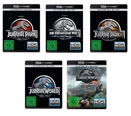 Jurassic Park 1+2+3 (4k Ultra-HD) & Jurassic World 1+2 (4k Ultra-HD) im Set - Deutsche Originalware [5 Blu-rays 4k + 5 Blu-rays 2D]