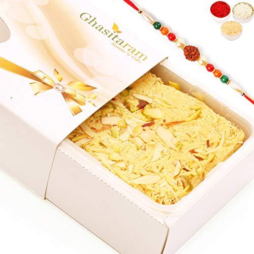 Ghasitaram Gifts Rakhi Gifts for Brothers Rakhi Sweets - Soan Papdi (200 GMS) with Rudraksh Rakhi