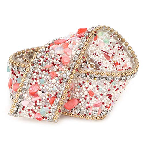 Cinta de Diamantes de imitación de 19,6 Pulgadas, 2.5cm de Ancho DIY Diamante Artificial Rollo de Cadena Hot Fix Crystal Trim Banding Applique para arreglos Florales de Fiesta de Bodas (# 05)