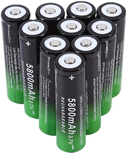 10 unids batería de Iones de Litio 18650 baterías Recargables baterías batería de Ion de Litio 5800mAh 3 7V ICR Baterías de Litio Células de batería para Linterna de antorcha