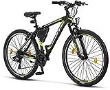 Licorne - Mountain bike Premium per bambini, bambine, uomini e donne, con cambio Shimano a 21 marce, Bambina, nero/lime (freno a V)., 27.5 inches