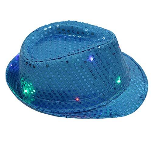 iYmitz Blinklicht Leuchten Bunten Pailletten Unisex Kostüm Dance Party Hut Solide Elegant Kappen Anti-UV Sonnenhüte(Blau,One size)