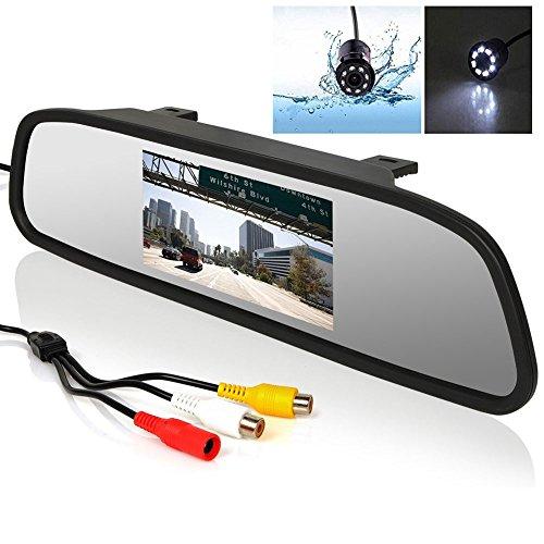 stationnement reliée – BW 10,9 cm LCD Voiture Rétroviseur moniteur et 8 LED Vision de nuit Caméra de recul de voiture