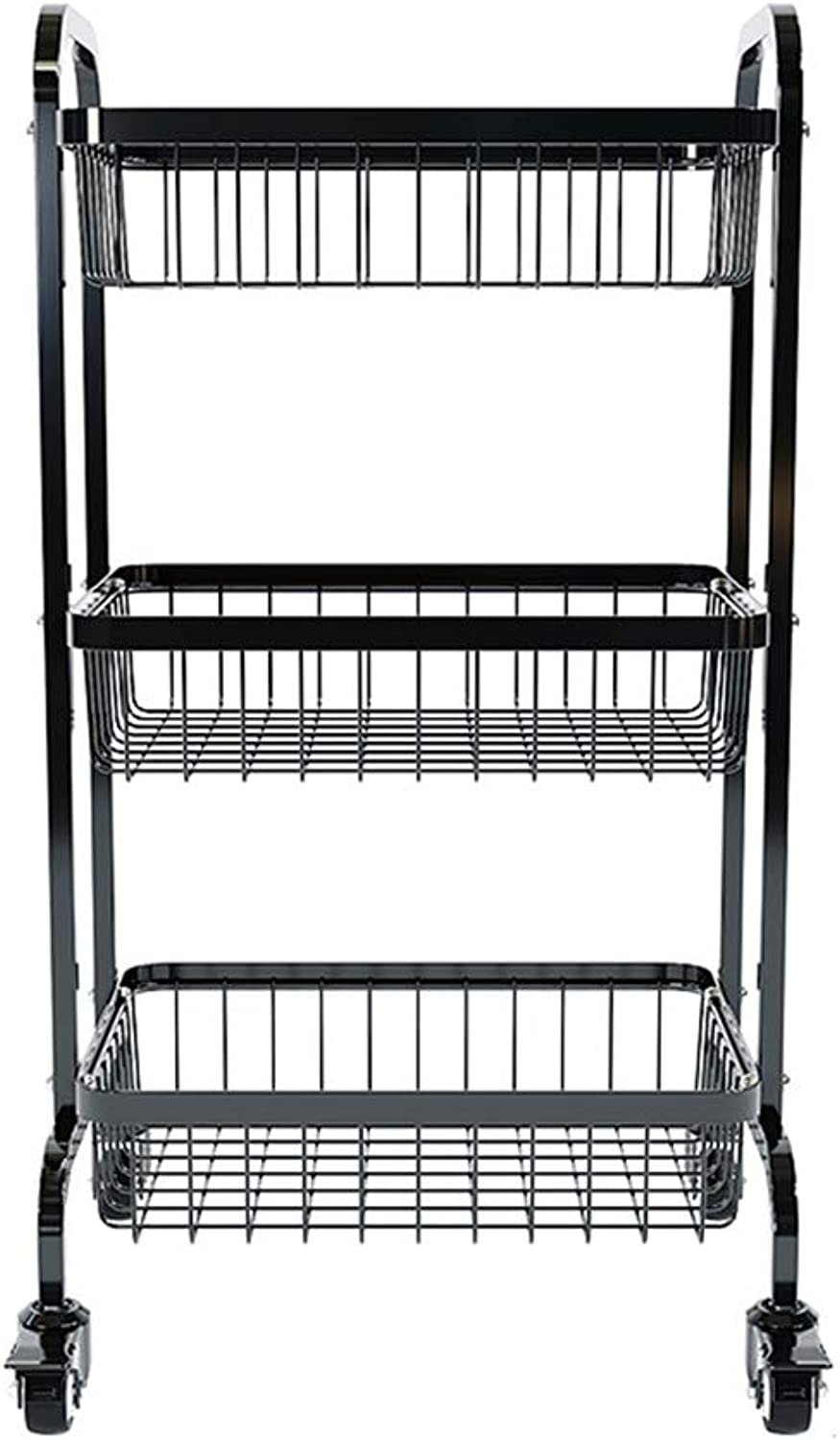 Kitchen Vegetable Rack Floor-Standing Stainless Steel Thickening 3 Layer with Wheels Fruit Storage Basket Vegetable Shelf 48 Wx46 Dx85 H cm. (color   Black)