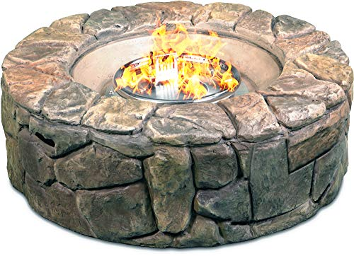 Homeology Fireology KALUYA Bronze Lavish Garden & Patio Gas Fire Pit with Eco-Stone Finish – Fully Assembled