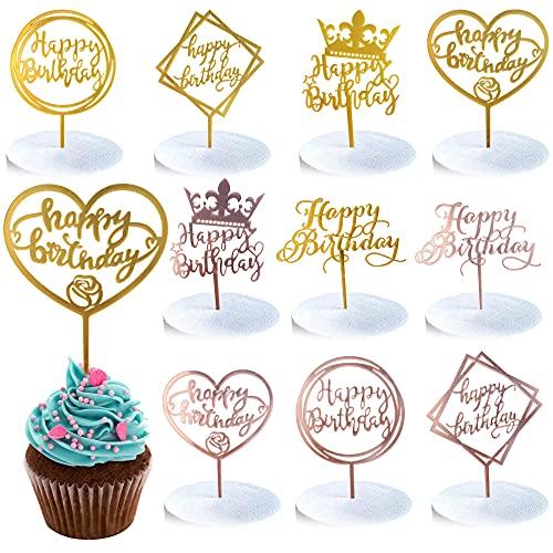 DTnewsun Cake Topper Alles Gute zum Geburtstag, 10 Stück Happy Birthday Tortendeko Geburtstag, Kuchendeko Geburtstagsdeko Cake Torten Kuchen Topper Glitter Topper Kuchen Dekoration