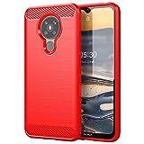 NOKOER Funda para Nokia 5.3, TPU Delgada Disipacion de Calor Telefono Movil Cover, Material Suave Sensación Cómoda Huella Digital Anti Case para Nokia 5.3 Smartphone - Rojo