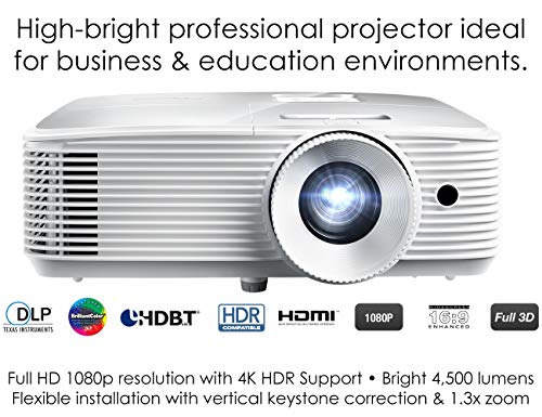 Optoma EH412 1080P HDR DLP Professional Projector   Super Bright 4500 Lumens   Business Presentations, Classrooms, and Meeting Rooms   15000 Hour Lamp Life   4K HDR Input   Speaker Built in , White