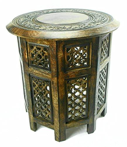 Mesa auxiliar de madera de mango tallada a mano india de 21 pulgadas con incrustaciones de madera de latón con diseño floral