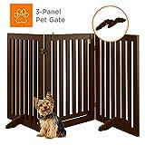 Best Choice Products 31.5in 3-Panel Freestanding Wooden Pet Gate w/Walk Through Door, Adjustable Pen - Espresso