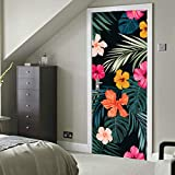 Dibujado a mano sin costuras Vector tropical Vinilo autoadhesivo Papel pintado adhesivo extraíble Etiqueta de la pared de la puerta 30x79 pulgadas (77x200 cm) 2 piezas