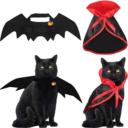 Boao 4 Stücke Halloween Katzen Kostüm Katzen Kap Fledermaus Flügel mit Kürbis Glocken für Halloween Haustier Kostüm