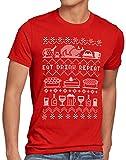 style3 Eat Drink Repeat Pull de Noël T-Shirt Homme Manger Boire Vacances x-mas Ugly Sweater, Taille:M, Couleur:Rouge