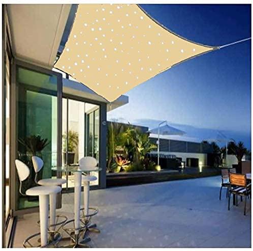 ACCZ Sonnensegel Mit Solarenergie LED Nachtlichtern Beleuchtung, Hergestellt Aus Hochwertigem HDPE-Material, 180G / M2, Atmungsaktiv Rechteck Beige, Geeignet Für Garten/Terrasse/Grill, 2x3M