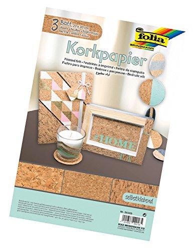 folia 56309 - Kork Papier selbstklebend, 3 Blatt, ca. 20 x 30 cm - für kreative Bastelarbeiten und Dekoelemente