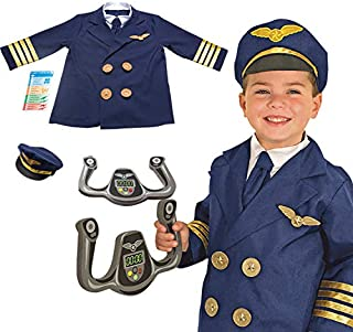 Yalla Baby Kids Pilot Costume for Kids Boys, Pretend Dress up Role Play Set (3-8 Years, 80-110cm)(0995)