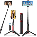 Selfie Stick Tripod - Lightweight Aluminum All in One Extendable Phone Tripod Selfie Stick with Wireless Remote for iPhone 11/Xs Plus Portable & Lightweight Home Travel bluetooth selfie sticks May, 2021