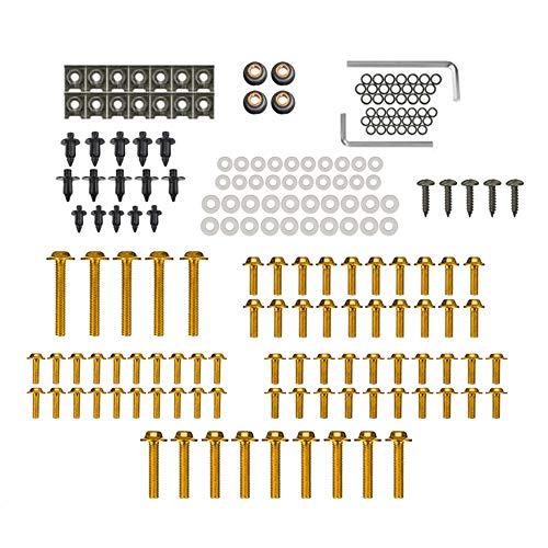 KKmoon Motorrad Schrauben Set Verkleidungsschrauben Schrauben Karosserie Kit 194 Stücke Gold