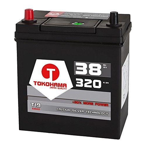 Tokohama Asia Japan Autobatterie 12V 38AH 320A/EN + Plus Pol Links Dünnpol 53522 35Ah