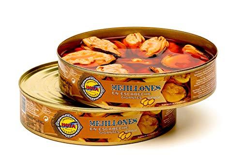 Hoya Mejillones en Escabeche Gigantes - Pack 2 latas de 490g/15-20 piezas (980g/30-40 piezas). Conserva Gourmet con mejillones extra grandes.