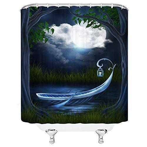 AdaCrazy Traum Duschvorhang Zauberwald Vollmond Stern Retro Boot Nachtsicht 71x71inch hochwertigem Polyester wasserdichtes Gewebe Duschvorhang einschließlich 12 Kunststoffhaken
